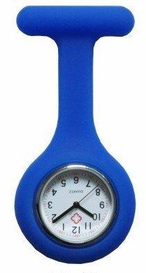 Boolavard TM Orologio da infermiere in silicone con spilla - orologio tascabile AZZURRO