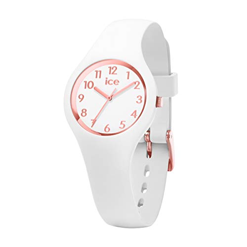 ICE-WATCH - ICE glam White Rose-Gold Numbers - Weiße Damenuhr mit Silikonarmband - 015343 (Extra small)