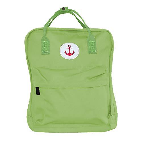 HomeOfSocks Maritimer Anker Rucksack für Damen Herren Kinder 16L Jeans-Canvas Schule Uni Arbeit Grün
