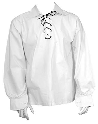 Schottisch Weiß Jakobiten Ghillie Kilt Hemd Lederband - Weiß, Weiß, XX-Large