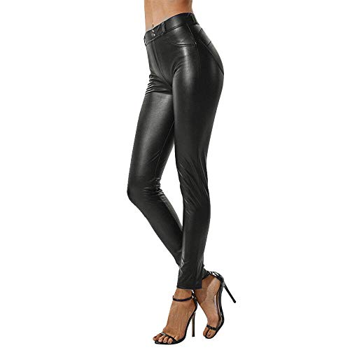 QPXZ Leggins Leggings De Mujer Sexy De Moda Street Style Stretchy High Waist Faux Leather Party Skinny Shiny Black Pencil Pants Pantalones -A_4XL