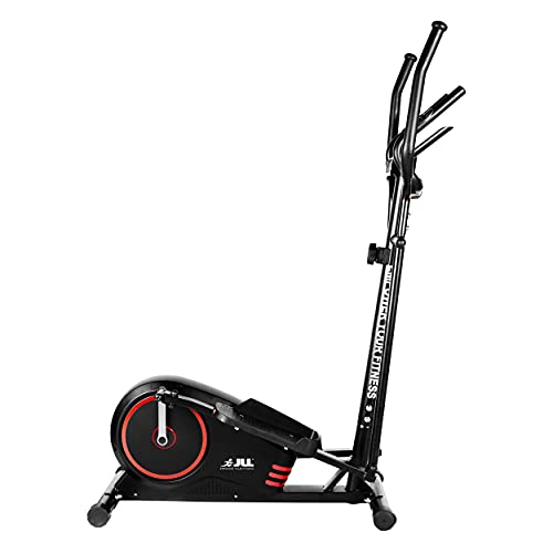 JLL® CT200 Home Cross Trainer, 2021 Model, 8 Level Magnetic Resistance, Cardio Workout, 5KG Bi-Directional Flywheel, Console Display with Heart Rate Sensor and Tablet Holder. Black & Red