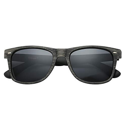 Polarspex Polarized 80's Retro Classic Trendy Unisex Sunglasses for Men and Women (Wood Grain Brown - Smoke, 52)