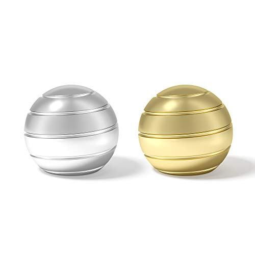 VEFINDOR Desk Toys for Office Conversation Piece, Fidget Toys for Adults Stress Relief, Kinetic Optical Illusion Balls (Silver Gold)