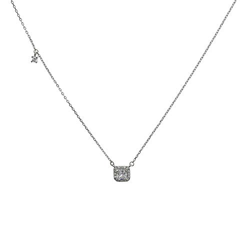 925 Silver Plaza Diamond Pendant Necklace Women Simple Fashion Shiny Chain Wedding Jewelry Party Gift platinum