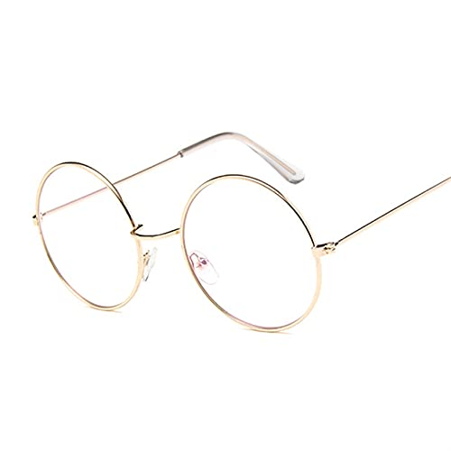 WWWL Gafas de Lectura, Marco de los vidrios de la Vendimia Redonda Lente Clara la Manera del Metal Oro Redondo vidrios ópticos Hombres Mujeres (Color : Gold Trans, Size : +350)