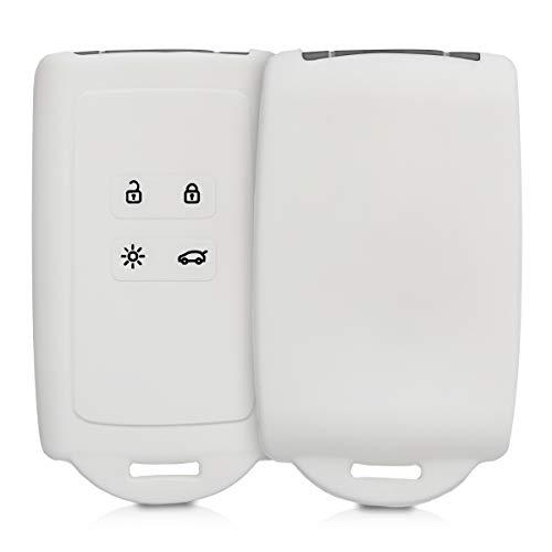 kwmobile Funda de Silicona Compatible con Renault Llave de Coche Smart Key de 4 Botones (Solo Keyless Go) - Carcasa Protectora para Llavero - Case Mando de Auto Blanco
