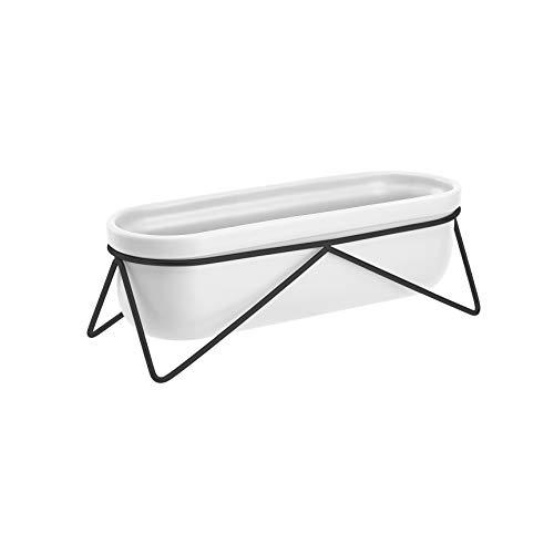 Amazon Basics Pflanztopf für den Tisch, oval, Weiß / Schwarz
