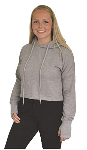 Green Cat Kurzer Damen Hoodie, Bio-Baumwolle und Oeko-TEX Zertifiziert, Textilfarbe: grau, Gr.: S