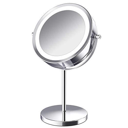 Verlichte Make-up spiegel - LED dubbelzijdig 1x/5x Vergroting Cosmetic Mirror,7 Inch Batterij aangedreven 360 graden Rotatie Vanity Spiegel met Aan/Uit Drukknop