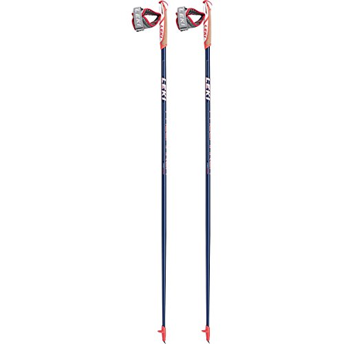 LEKI Pacem, Aker Canne de Marche Nordique 110 Dark Blue Metalic/White/Neon Red