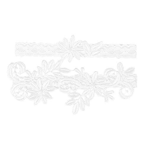 BESTOYARD Strumpfband Vintage Spitze Elastische Weiche Braut Brautjungfer Elegant Hochzeit Zubehör 2 Stück (Weiß)