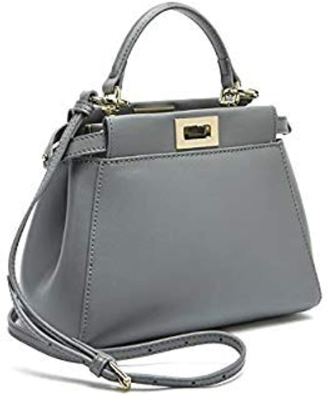Bloomerang Genuine Leather Peekaboo Bag Luxury Handbags Women Messenger Bags Designer High Quality Leg Shoulder Bag Crossbody Tote Sac color Grey 24cm no Logo