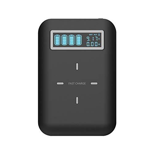 NKDD 3in1 18650 Batería DIY 10W Qi Cargador inalámbrico USB Tipo C PD Banco de energía Caja Caja Cable de Datos Negro