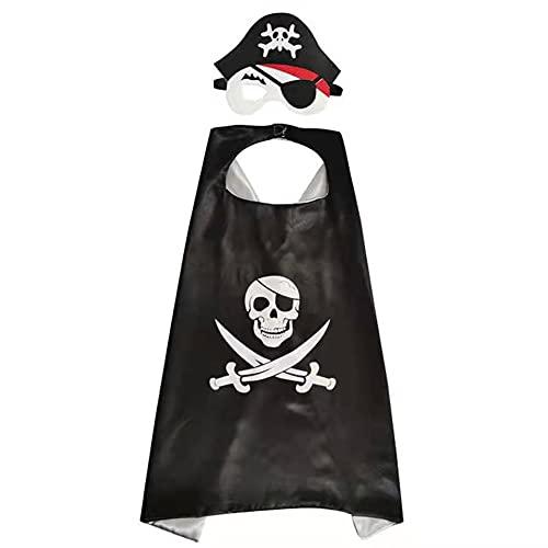 Mantello Pirata, Set di Accessori Pirata 1 Set Mantello del Capo Benda Sull'occhio con Maschera in Feltro Costume Cosplay per Bambini per Feste a Tema Halloween