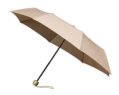 MiniMax dames paraplu, opvouwbaar en compact, beige – kleine paraplu van 25 cm – licht 300 g – ideaal voor op reis – grote bescherming met 1 meter diameter