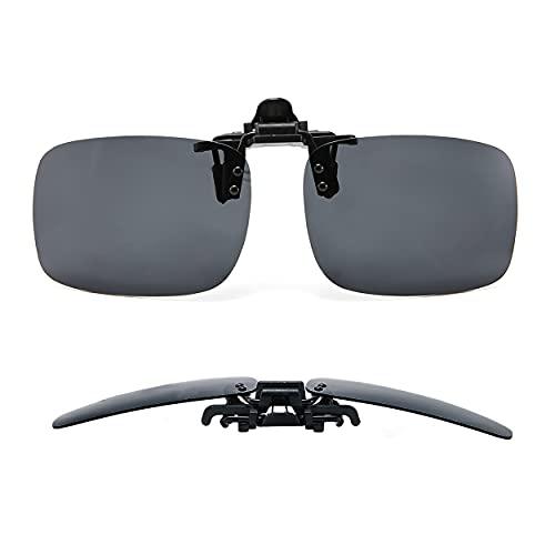 MIKOO Sonnenbrillen Clip Polarisierte Sonnenbrille Nachtsichtbrille Autofahren FüR BrillenträGer üBerzieh-Sonnenbrille Mit Brillen-Etui FüR Herren Und Damen (Schwarz)