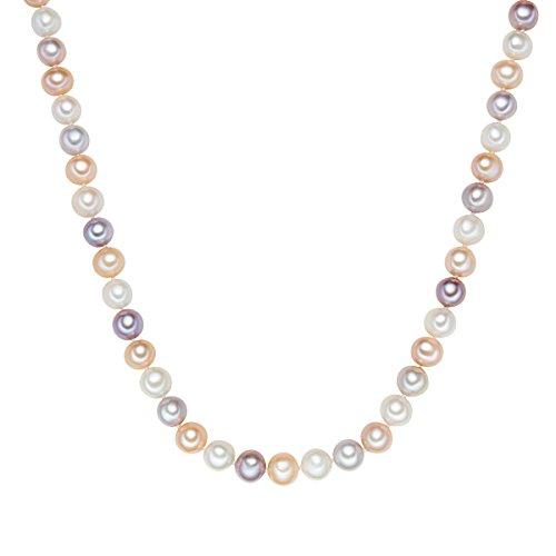 Valero Pearls Damen-Kette Hochwertige Süßwasser-Zuchtperlen in ca. 10 mm Rund weiß/apricot/flieder 925 Sterling Silber 45 cm - Perlenkette weiss rosa lila mit echten Perlen 340320