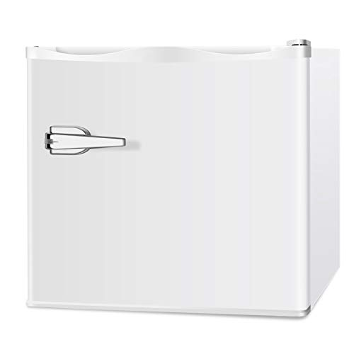 LHRIVER 1.2 cu ft Portable Upright Freezer - Compact Reversible Stainless Steel Single Door ,Adjustable Mechanical Thermostat and Leveling Legs, Mini Refrigerator Freezer Machine Food for Dorm (1.2 CU FT, WHITE)
