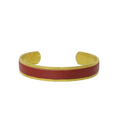 名入れ 真鍮 ヌメ革 バングル ブレスレット 刻印付き 指輪 メンズ レディース レザー ペアバングル brass プレゼント ギフト (レッド, S)