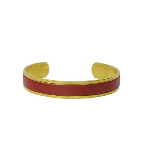 名入れ 真鍮 ヌメ革 バングル ブレスレット 刻印付き 指輪 メンズ レディース レザー ペアバングル brass プレゼント ギフト (レッド, M)