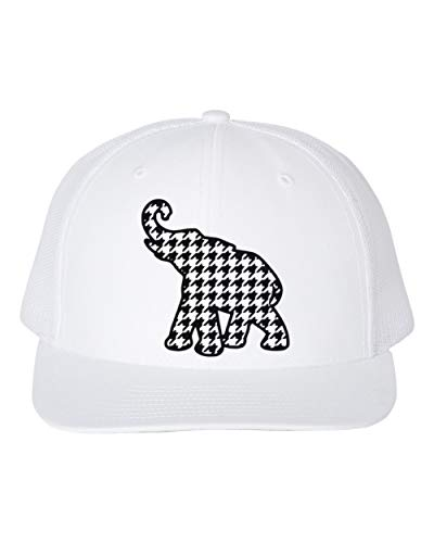 Hounds Tooth Elephant/Trucker Hat/Roll Tide/Alabama Football, Black Text (White)