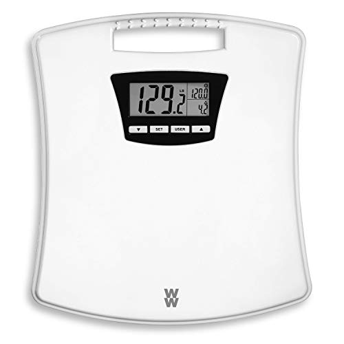 WW Scales by Conair Weight Tracker Bathroom Scale, Displays Current Weight, Last/Start/Goal Weight on Split Screen Digital Display, 4 User Memory, 350 Lbs. Capacity