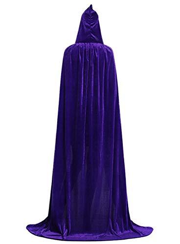 ALIZIWAY Hooded Cloak Full Long Velvet Cape for Halloween Cosplay Costume Cloak Purple 06PL