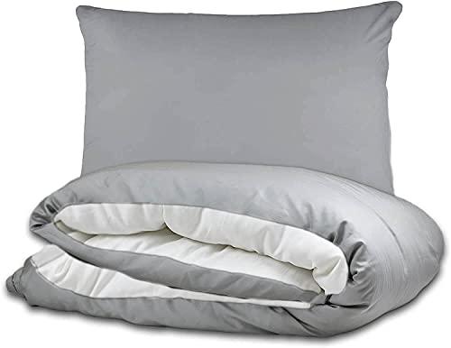 twenty:three Juego de ropa de cama [1x] 135x200 cm + [1x] 40x80 cm gris/blanco – 100% Tencel Lyocell (fibras de eucalipto) – con cremallera – verano e invierno – funda de almohada gris