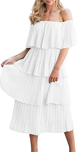 ETCYY Women's Off The Shoulder Ruffles Summer Loose Casual Chiffon Long Party Beach Maxi Dress White