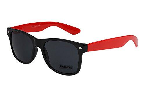 X-CRUZE 8-083 - Gafas de sol nerd retro vintage unisex hombre mujer gafas nerd - negro/rojo