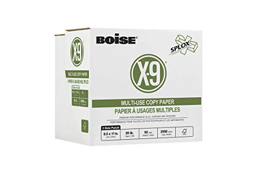Boise Paper X-9 Multi-Use 3-Hole Punch Copy Paper – Ream less (2,000 Sheets) | 8.5' x 11' Letter | SPLOX (Easy Carry Box) | 92 Bright White - 20 lb. | SP-8420P-CTN