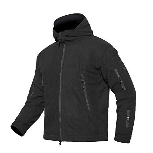 LIOOBO Outdoor verdicken Mantel Outdoor Kapuzen Softshell Fleece Winddicht Bergwandern jacken für Camping Sport größe XXL (schwarz)