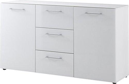 Germania Sideboard 3767-84 GW-SCALEA in Weiß mit Glasfront und Glasauflage, 145 x 80 x 40 cm (BxHxT)