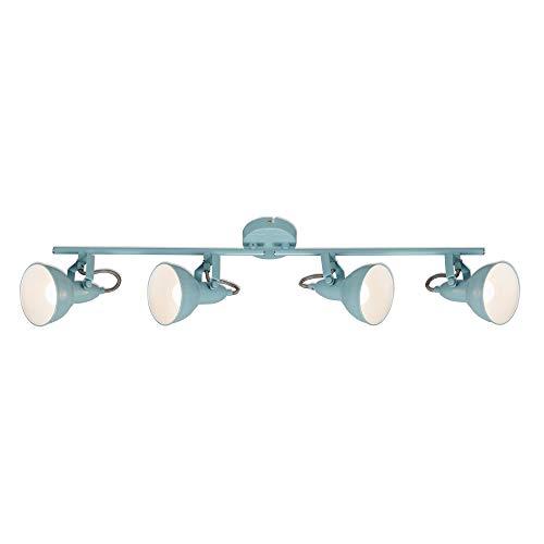 Briloner Leuchten - Deckenleuchte, Spotleuchte 4-flammig, Strahler Dreh- und schwenkbar, Retro/Vintage, 4 x E14, 40 Watt, Metall, Mint-Weiß, 790x190mm (LxH), 2049-040