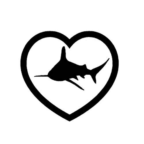 A/X Bilklistermärke 10,8 cm x 12 cm hjärta haj mode vinyl bilstyling bilklistermärke dekaler svart silver C11-0334