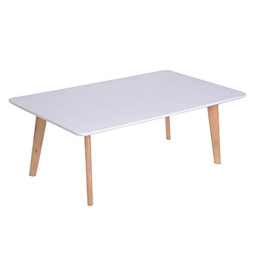 HOMCOM Couchtisch Wohnzimmertisch Beistelltisch Kaffeetisch Teetisch Nachttisch viereckig Holz Natur + Weiß 120 x 70 x 45 cm
