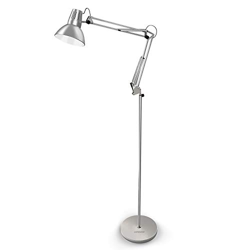 LEPOWER Metal Floor Lamp, Architect Swing Arm Standing Reading Lamp with Heavy Metal Base, Adjustable Floor Light with On/Off Switch for Living Room, Bedroom, Study Room and Office (Silver)