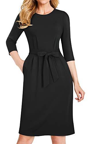 HOMEYEE Women's Casual 3/4 Sleeve Church Business Belt Dress B462