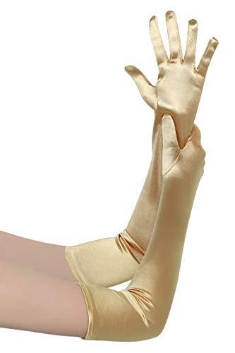 BABEYOND Damen Handschuhe Satin Classic Opera Fest Party Audrey Hepburn Handschuhe 1920er Stil Handschuhe Elastisch Erwachsene Größe Ellenbogen bis Handgelenk Länge 52/55cm (Lang Glatt 52cm / Gold)