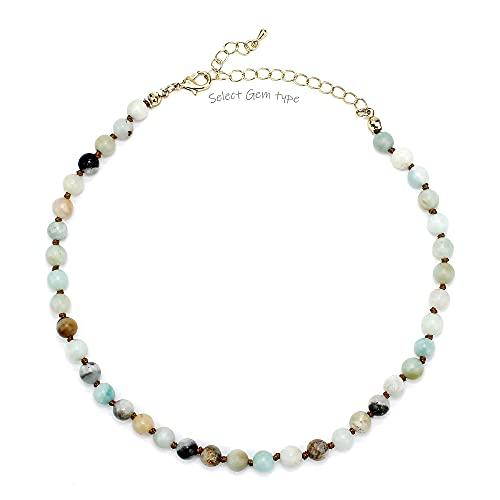 Pomina Semi Precious Stone Beaded Short Choker Necklace for Women Natural Gemstone Beaded Choker Necklace for Teen (amazonite)