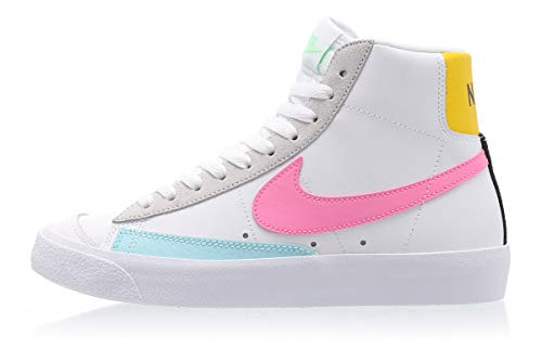 Nike Wmns Blazer Mid VNTG '77, Zapatillas de básquetbol para Mujer, White Pink Glow Pure Platinum Glacier Ice Illusion Green Speed Yellow, 40 EU