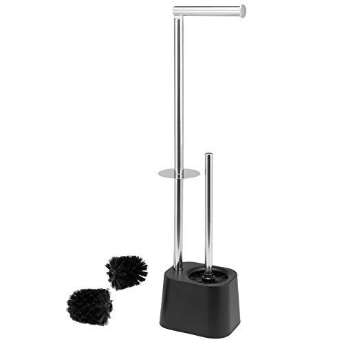 bremermann WC-Garnitur 3in1 inkl. Rollenhalter, WC-Bürste und Ersatzrollenhalter | Edelstahl rostfrei, inkl. 2 Ersatzbürstenköpfe | WC-Ständer (Schwarz)