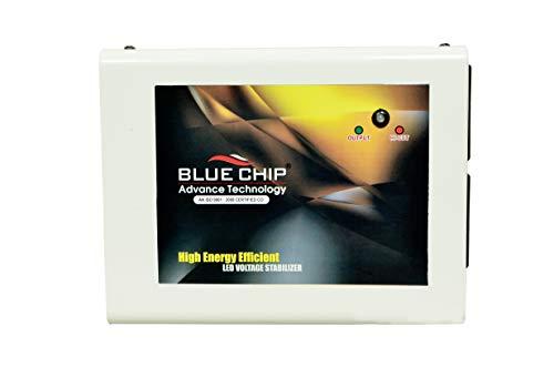 BLUECHIP 100% Copper TV Voltage Stabilizer for (183 cm) Upto 72 inch TV Set top Box & Home Theater | Automatic Voltage Stabilizer (Working Range: 90-280V; 3.2 A, Black - Gold)