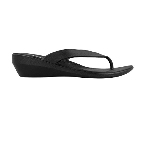 OKABASHI Womens Lakeside Thong Flip Flop Sandals, Black, 9-Aug