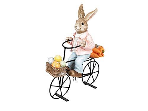 dekojohnson Deko-Hase Osterhase auf einem Fahrrad sitzend Deko-Fahrrad Gartenfigur Gartendeko Osterdeko Osterfest braun 27x23cm Langohr Kaninchen