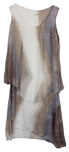 BZNA Ibiza Batik Empire Lagenjurk zomerjurk taupe wit beige violet 100% zijden jurk Bozana zomer herfst zijden jurk dames jurk jurk elegant