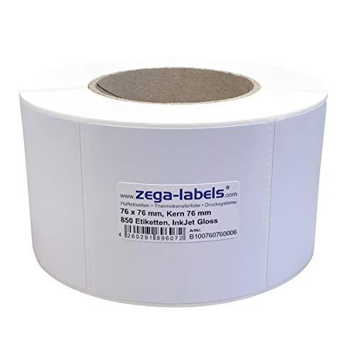 Inkjet Etiketten auf Rolle - 76 x 76 mm - 850 Stück je Rolle - Kern: 76 mm - Papier weiss glänzend - aussen gewickelt - permanent haftend - Druckverfahren: Ink Jet (Rollen Tintenstrahl Drucker)