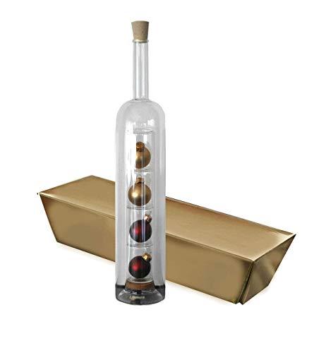 ORNARA Weihnachtsgeschenk Geschenkflasche Hohlraum mit Kugeln + Goldbarren Box