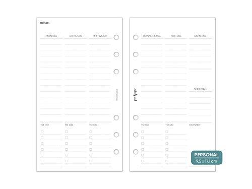 pen & pages® undatierter Kalender Wochenübersicht mit Spalten - Personal - 6 Löcher - Personal Organizer, Kalendereinlagen, 1 Woche auf 2 Seiten, undatiert, 9,5 x 17,1 cm